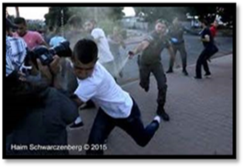 Israelis using pepper spray against Palestinians