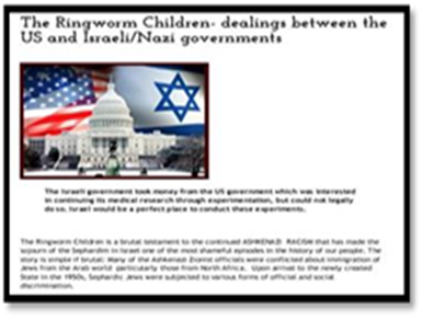 The Ringworm Children- dealings between the US and Israeli_Nazi governments